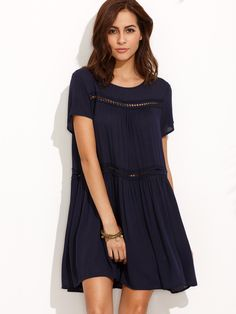 Shop Navy Short Sleeve Shift Dress online. SheIn offers Navy Short Sleeve Shift Dress & more to fit your fashionable needs.