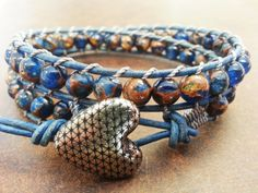Handmade Antiqued Blue Leather with Composite Stone and Antiqued Heart Button - sold