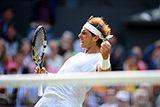 Rafael Nadal celebrates during his Fourth round match