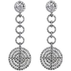 Pre-owned Diamond Circle Dangle Earrings 4.55tcw G Color Si2 Clarity... ($4,615) ❤ liked on Polyvore