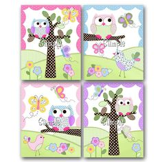 Set+of+4+Pink+and+Purple+Owls+Girls+Bedroom+and+by+ToadAndLily,+$20.00
