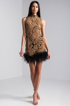 497ea819294 AKIRA Sleeveless Sheer Mock Neck Feather Trim Sequin Brocade Glittery Mini  Dress in Black