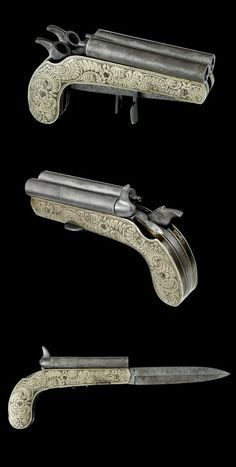 A very rare double barreled percussion pistol with folding knife, Belgium, 19th century.