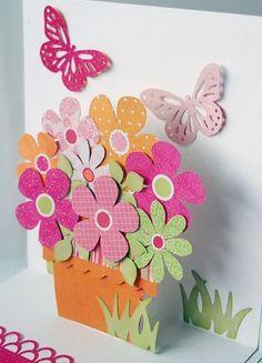 Flower pot simple box pop up card
