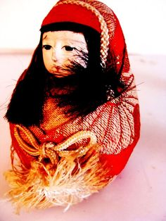 """___ Bisque Doll Japanese Ichimatsue Gofum Paste Silk Figurine 3"""" Home Decor Collect ___ Hi there...... original circa 1930s or before... baby Japanese bisque doll.  I believe this is either by Sakura or Ichimatsu  These were make of a paste called gofum with eggshell, I believe.  She is wrapped in the silk with the tied rope...I'm told the rope means something, but I'm not sure what it implies.  She measures 3"""" tall and 2-1/4"""" wide."""