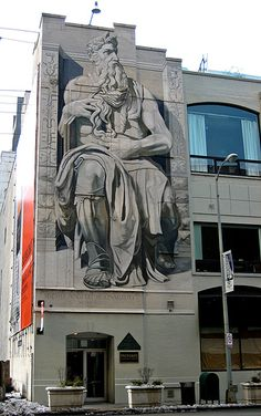 Mural of Moses on a building in the Streeterville area of Chicago, Illinois