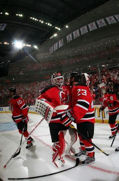 Brodeur and Clarkson celebrate winning the Eastern Conference.