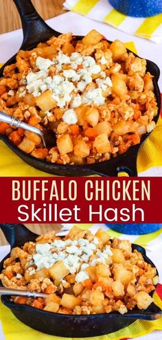 If you love hot wings then you are going to go crazy for this Spicy Buffalo Chicken Hash. Your basic breakfast skillet potatoes are kicked up with hot sauce and topped with blue cheese for a meal in one pan that the entire family will love! Add some eggs, fruit, toast, or a salad and serve it for brunch or brinner too. Easy, healthy, and gluten free! Chicken Breakfast, Breakfast Skillet, Breakfast For Dinner, Skillet Potatoes, Chicken Potatoes, Easy Skillet Dinner, Skillet Dinners, Appetizer Recipes, Dinner Recipes