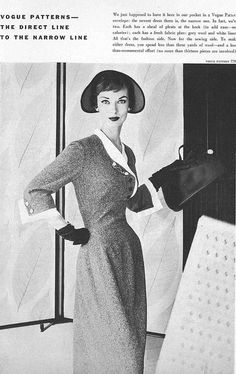 A becoming 1950s dress with smooth waist panel and tailored lines..