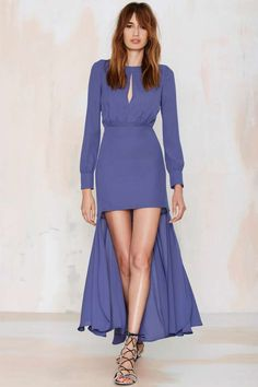 Nasty Gal Dramarama High/Low Dress - Blue - Midi + Maxi | Going Out | Solid | Dresses
