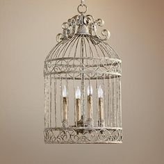 "Lamps Plus  $432 kitchen table Quorum Birdcage 4-Light 15"" Manchester Grey Pendant Light"