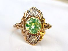 Art Deco Engagement Ring Yellow Green Spinel and Diamond Antique Engagement Ring 10K Yellow, White & Rose Gold Filigree Ring Size 6 - just my size!