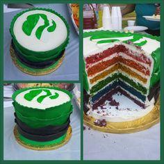 Girl Scout bridging ceremony cake. Brownies to Juniors. Used my red velvet cake recipe.