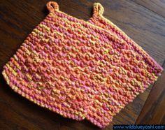wildblueysohi, wildblueyoshi.com, knitting, knit, potholder, cotton, yarn, pink, yellow, variegated, orange, handmade, marvelously bumpy, peaches & creme, peaches and creme Dishcloth Knitting Patterns, Crochet Dishcloths, Loom Knitting, Free Knitting, Knit Crochet, Crochet Patterns, Crochet Ideas, Blanket Patterns, Knitting Projects