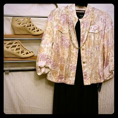 DROP Ruby Rd. Silky Floral Jacket Gorgeous satiny button up jacket with adjustable sleeves. Muted rose pattern with shades of cream peach and purple. Pearly capiz shell buttons Ruby Rd. Jackets & Coats