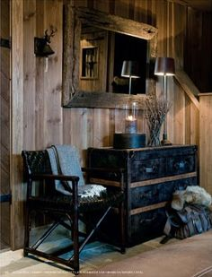 Good to see a hint of blue creeping into often neutral chalet interiors! Cottage Inspiration, Cabin Decor, Cabins And Cottages, Building A Cabin, Rustic Retreat, Ranch Decor, Chalet Design, Cabin Living, Cabin Interiors