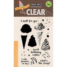 """Hero Arts Color Layering Ice Cream 4""""x6"""" Clear Stamp Set CL963  - Craftie-Charlie"""