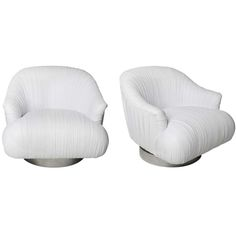 Milo Baughman Style Leather Swivel Chairs | 1stdibs.com