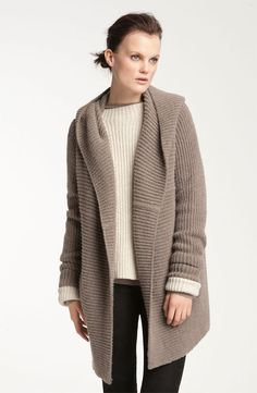 Vince Hooded Ribbed Cardigan