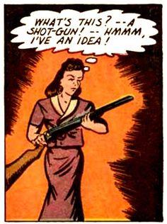 """""""What's this? -- A shot gun! --Hmmm, I have an idea!"""" vintage comic"""