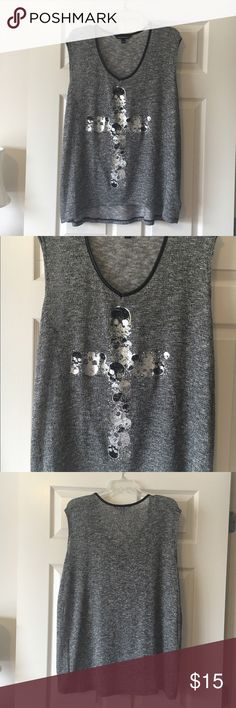 Tank top NEVER WORN Rock and Republic tank top with skull cross decoration. Tags are off but I never wore it. Looks cute worn oversize over leggings. Size 1X but will fit XL. Rock & Republic Tops Tank Tops