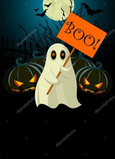 Halloween invitation of very cute ghost with Boo sign