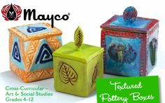 """Textured Pottery Boxes"" art lesson plan by Mayco for grades Students will stamp and sprig a square clay box with lid created using a plus-shaped template. Students will explore the history of stamping techniques in pottery making. Ceramic Boxes, Ceramic Clay, Ceramic Pottery, Pottery Art, Clay Art Projects, Ceramics Projects, Clay Crafts, Slab Boxes, Clay Box"