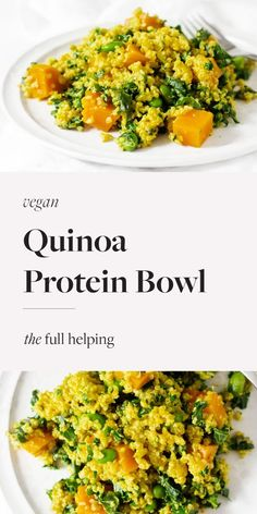 Harness the benefits of #plantprotein with this satisfying, cozy #vegan bowl! Quinoa, kale, butternut squash, and edamame are brought together with a creamy sauce. The meal has about 20 grams of protein and tons of nutrition. Easy to make ahead and perfect for busy nights. #veganprotein #plantbased #plantbasedrecipes #glutenfree Quinoa Protein, Plant Protein, Vegan Recipes, Cooking Recipes, Creamy Sauce, Edamame, How To Cook Quinoa, Plant Based Recipes, Butternut Squash