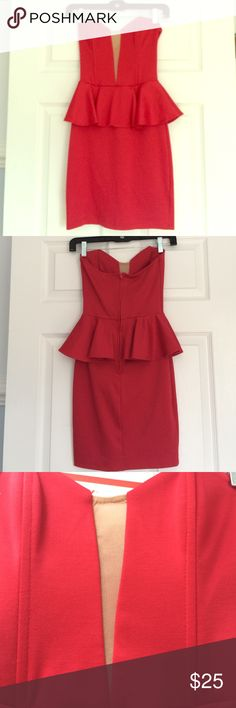 Nastygal red peplum dress Wore only one time! Red Nastygal peplum dress in perfect condition with transparent front slit. Nasty Gal Dresses Strapless
