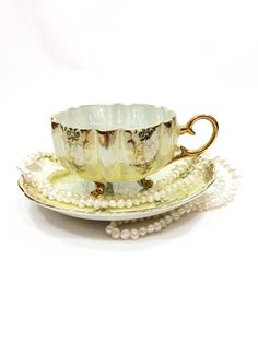 Yellow & Gold Lusterware Tea Cup Royal Halsey Footed Tea Cup