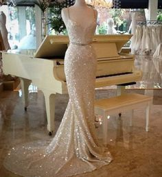 Long Train Evening Dress,Formal Dress,Sequins Prom Dresses