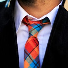 Red plaid skinny tie from Pocket Square Clothing.