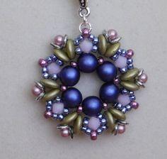 Beaded Pendant, Tutorial, Pattern, Instruction, Fairy Ring, Beadweaving, Bead Jewelry, Swarovski, 2 hole lentil, Czechmates, Czech, PDF