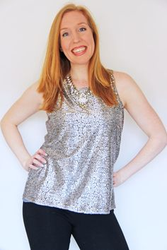 My First Stitch Fix Review: Collective Concepts Susie Metallic Sleeveless Blouse - Rhapsody in Rooms