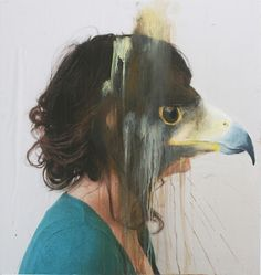 French artist Charlotte Caron makes very interesting paintings. For the works, a combination of photography and painting, she paints animal heads looking like some sort of masks over the faces of photo-portraits that she takes herself. Animal Masks, Animal Heads, Charlotte Caron, Montage Photo, A Level Art, Grafik Design, French Artists, Teaching Art, Animal Paintings