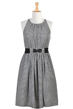 I <3 this Elastic belted seersucker check dress from eShakti