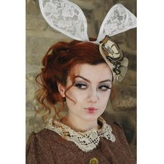 I'm Late! I'm Late!  Alice in Wonderland's White Rabbit, Lace Bunny Ears Headband. Designed by Susan Mochrie