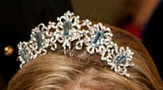 Aquamarine Tiara worn by the Countess of Wessex, October 2012.  This was the re-emergence of a tiara owned by Queen Elizabeth that many had thought had been dismantled to contribute to the Brazilian Parure tiara. See Five Aquamarine Tiara board for more images