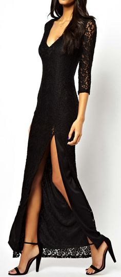 Black lace maxi