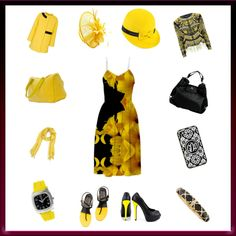Dress It Up or Down: My Yellow Lilies Floral Dress... which you can dress up, or down, with just a change of mx and match accessories ...here with @CelineBags.   #lilies #sweaters #outerwear #purses #bags #jackets fascinators #shoes #flats #heels #flowers #floral #watches #hats  #scarf #RoseSantuciSofranko #Artist4God #templates #Fall #Autumn #yellow #black #blackandyellow #yellowandblack #Celine #CelineBags