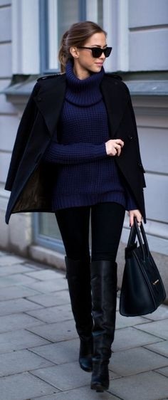 high neck sweater long boots hand bag and coat