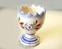 Traditionnel ceramic egg cup from France : Henriot Quimper. Hand painted. Perfect condition. 2.75""