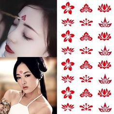 Waterproof Body Tattoo Sticker Flowers Forehead Tattoo Decals Eye Makeup Decor Creative Forehead Tattoo Sticker Waterproof Eye Makeup Decoration For Photography Fake Tattoos, Trendy Tattoos, Body Tattoos, Watercolor Lotus, Lotus Painting, Tattoo Watercolor, Japanese Watercolor, Chinese Makeup, 4 Panel Life
