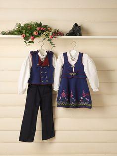 GG190-03 Blåvier festdrakt til gutt & jente | Gjestal Knitting Patterns, Children, Jackets, Barn, Style, Ideas, Fashion, Young Children, Down Jackets
