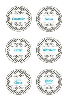 Spice jar lid labels. Mason jar label templates
