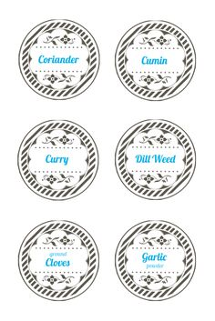 Spice jar lid labels. Mason jar label templates
