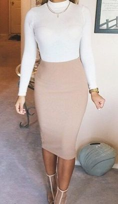 Nude Pencil Skirt With Exposed Zipper | Skirts | Pinterest ...