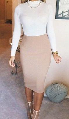 Natural faux suede midi pencil skirt