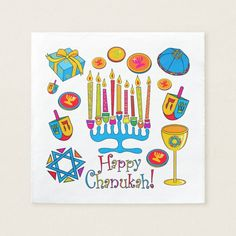 Shop Happy Hanukkah - Chanukah Napkin created by sharonrhea. Feliz Hanukkah, Hanukkah Gifts, Happy Hanukkah, Picnic Party Decorations, Tea Reading, Theme Pictures, Simple Baby Shower, Hanging Banner