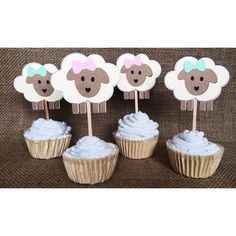 Lamb cupcake topper Little lamb baby shower lamb baby by FalcoClan